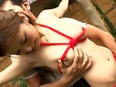 エキゾチックな日本の女の子Yuna椎名に角質緊縛、ザーメンJAVシーン