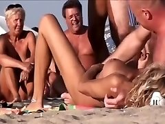 Horny Germans having group fuckfest on the beach