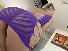 Torrid auburn nympho Natasha Blu sucks sloppy manhood and gets lubed ass pulverized