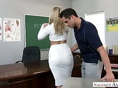 Extremely super-sexy big racked blonde professor was boned right on the table