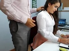 hot brown-haired assistant playing in office 1