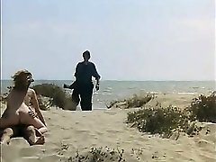 Voyeur Guy wanking and ravage ginger-haired girl on a public beach