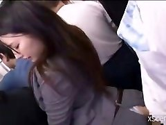 Asian slut humped clothed in the bus