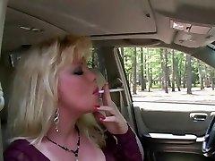 Super Hot Blonde Milf Smoking & Sucking In Fishnets & Heels