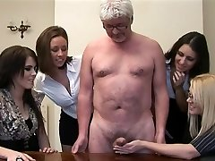 Women give hand job to a perv old fellow