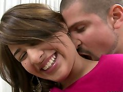 Shy blonde nubile Esperanza Rojas is happy to cram her mouth with cock
