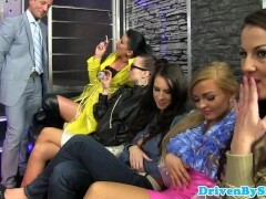 CFNM pissing babes in reverse gang-fuck party