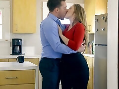 Ginormous breasted wife Lena Paul is fucked by kinky husband in the kitchen