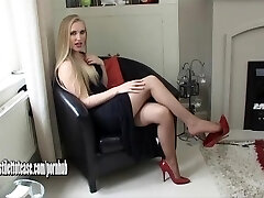 Hot young platinum-blonde wearing sexual and very softcore high heel shoes
