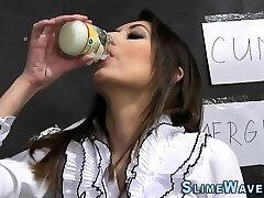 Babe swallows bukkake cum
