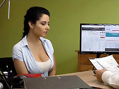 LOAN4K. Modest brunette Alex Black has dirty sex for cash