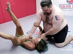 Combined Nude Wrestling Fight As Stacey Daniels Battles Vinnie ONeil And Sucks His Cock
