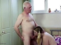 Old father fucks young stepdaughter