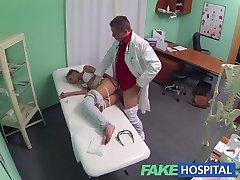 FakeHospital Hot Brunette Patient returns craving the doctors big cock