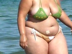BBW Bikini - Candid ass - Beach Booty voyeur - Spying Butt