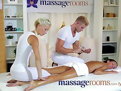Massage Rooms Petite teen gets double action from male and female masseurs
