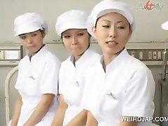 Gangbang with asians giving handjob