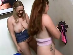 two chics nice tits long BBC at gloryhole