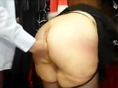 Chubby french Cougar with a big ass fucked in a hook-up store