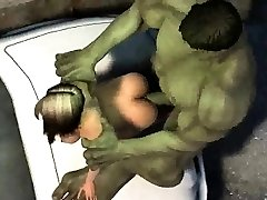 3D cartoon babe gets screwed outdoors by The Hulk