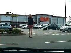 public boner flashes from shemale exhibitionist whore
