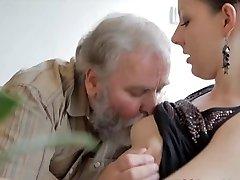 Teenie gets pulverized by an old man while her boyfriend watches