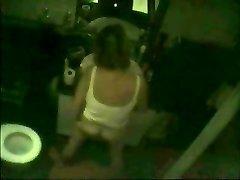 Hidden webcam caught cougar fingering in front of mirror