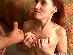 Skinny mature redhead loves to plumb and the taste of cum