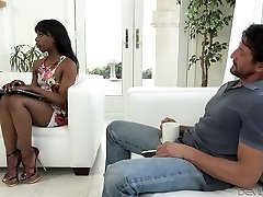 Sexy black chick wanks and blows big milky dick on the couch