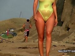 Sheer bathing suit and nude on the beach