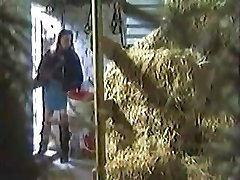 Girl hidden Tugging In A Barn