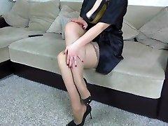 Spunk on legs in stockings StepSister