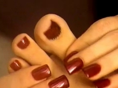 Girl lick her toes and show amazing sole