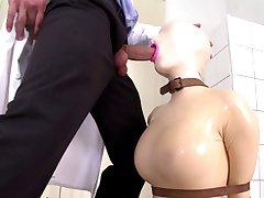 Latex rubber doll blowjob.