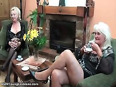 Nasty old and young lesbians get horny part1