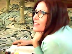 Nerdy Girl in glasses like Footjob12