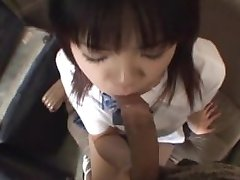 Cock sucking Japanese college girl swallows cum