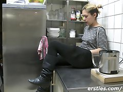 Hairy Amateur Girl showing her feet!