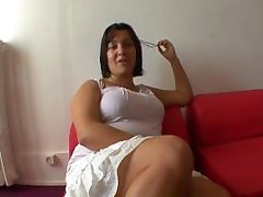 Naughty naked girl under her blouse for working in his office!