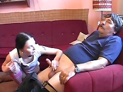 Pigtailed Teen Petra Gets Plowed By Old Man