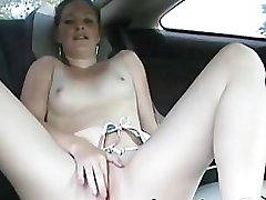 Bikini college girl getting wet in car fingering amateur porn GF