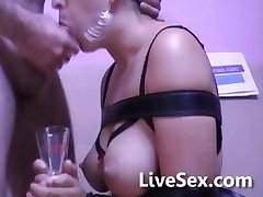 Tied up blowjob and cum drinking