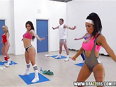 Slutty blond aerobics teacher fucks a student