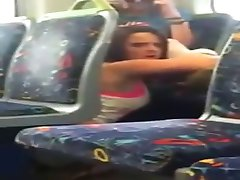 Girl busted on phone cam eating her friend out on the train