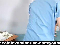 Horny gynecologist examines sweet blonde