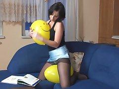 Pantyhose Balloon Play