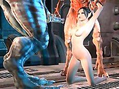 3D-3way en sommige vaste Monster neuken