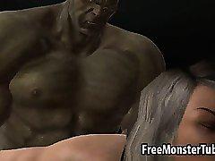 3D-meisje zuigt pik en krijgt fuckedh hard door De Hulk