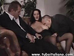 Busty Italian brunette Federica is in a threesome with a DP