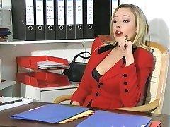 Busty boss in office orifice sex